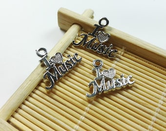 20 I Love Music Charms   - Music Charms  - Music Pendants   - 16  mm x 20mm
