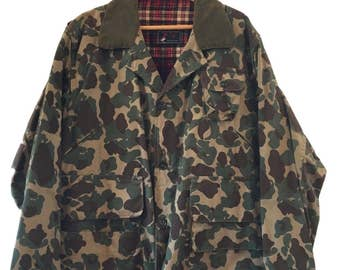 Vintage Original Red Head Cotton Jacket 1960s Hunting Camouflage Coat XL