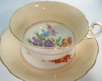 Foley Tea Cup and Saucer, Beige tea cup with spray of flowers, Floral Tea cup.