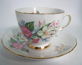 Colclough  Tea Cup and Saucer,  White with Pink Morning Glory tea cup and saucer set,