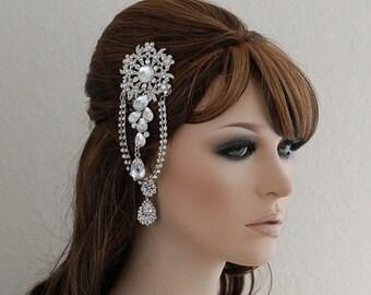 Dangling Crystal Comb , Rhinestone Comb , Wedding Comb , Bridal Comb , Bridal Hair Accessories , Prom Hair Comb , Hair Comb