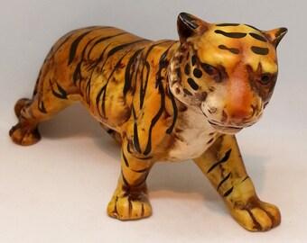 Lefton Tiger Ceramic Figurine, Vintage Hand Painted Big Cat
