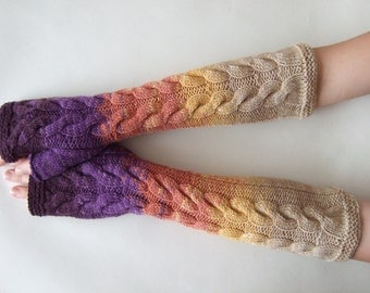 Multicolor ( purple, orange, yellow, beige ) fingerless gloves, wrist warmers, fingerless mittens. Handmade, knitted of PURE wool. Last one.