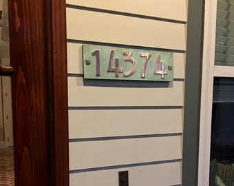 "Mission Mackintosh copper plaque  3""/75mm, 4""/100mm high nos. with plywood back, custom made, 5 x numbers, for brick and stucco g"