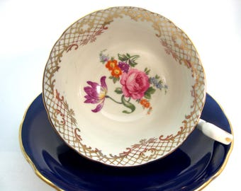Aynsley Floral Tea Cup and Saucer Set, Cobalt Blue and Gold Tea Cup and Saucer.