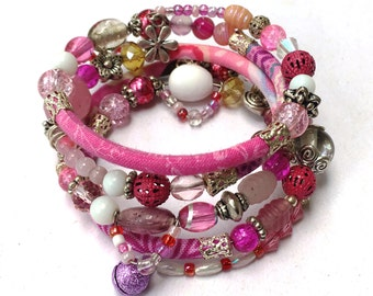Pink, white and silver adjustable wrap bracelet with glass & handmade fabric beads on memory wire