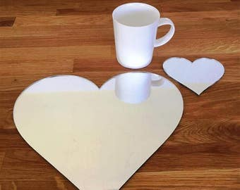 Heart Shaped Placemats or Placemats & Coasters - in Silver Mirror Finish Acrylic 3mm