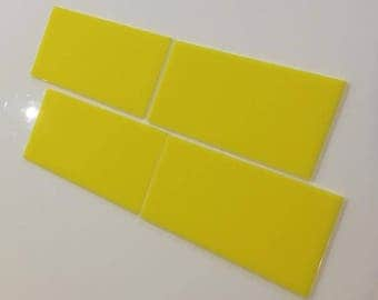 "Yellow Gloss Acrylic Rectangle Crafting Mosaic & Wall Tiles, Sizes: 1cm to 25cm -  1"" to 10"""