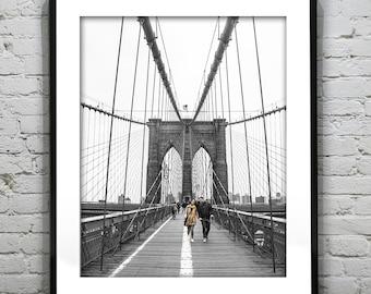Brooklyn Bridge New York City Black and White Wall Art Photography Poster Print