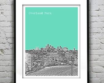 Overland Park Skyline Poster Art Skyline Print Kansas KS Version 1