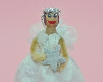 Angel clothespin doll, ornament, Shirley's Girlie, religious gift, cheer up gift, angel of hope, , angel with dark skin, Christmas ornament