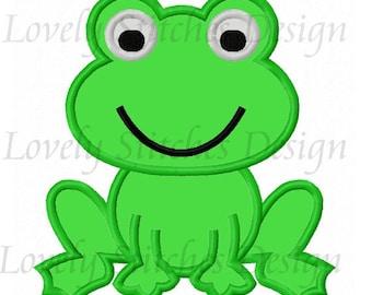 Cute Frog Applique Machine Embroidery Design NO:0594