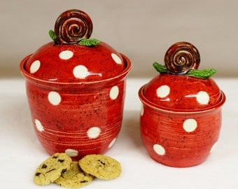 Red and White Polka Dot Canister Set with Curled Rose Handle and Leaves