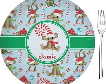 "Christmas Monkeys Appetizer / Dessert Plate (8"") (Personalized)"