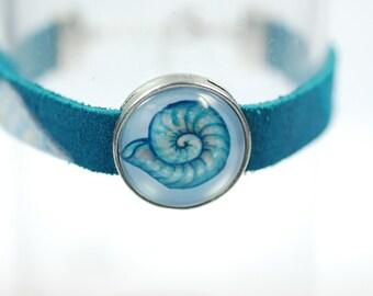 "Friendship Leather bracelet ""Atlantis Sea Snail"", silver"