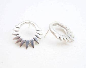 Spikelet hoops - Sterling silver hoops with spikes - handmade jewellery solid silver with post backings