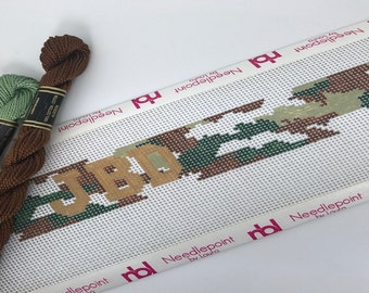 Camoflauge needlepoint key fob canvas with fibers