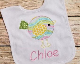 Bird Bib - Infant Bib - Custom Monogrammed and Appliqued Bib - Bean Stitch Birdie Bib - Baby Shower Gift - Newborn Bib