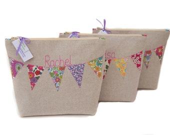 Personalised Cosmetic Bag // Choose your Liberty Fabric // Bridesmaid Gift // Customised Cosmetic bag // Wedding // Make Up Bag //