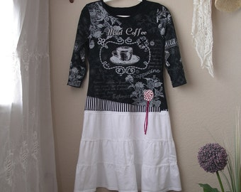 Black White Cotton Jersey Dress/ Funky Upcycled T-Shirt Dress/Small to Medium