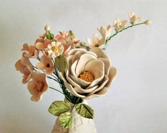 Ceramic Flower bouquet in a textured vase all hand crafted pottery