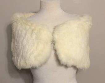 Vintage Sumptuous White Rabbit cape caplet