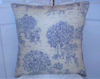 Blue French Toile Pillow, 20''x20'' Decorative Pillow Cover, FrenchCountryHome, Country Farmhouse Cottage, ShabbyChicStyle, Toile Bed Pillow