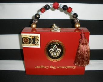 Red, Fleur de Lis, Cigar Box Purse, Authentic, Tampa