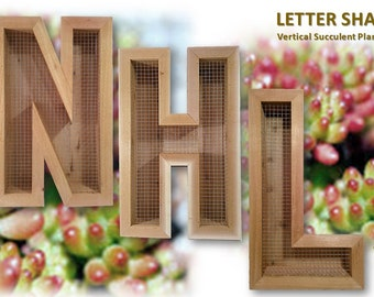 wood letter planter etsy With letter shaped planters for sale