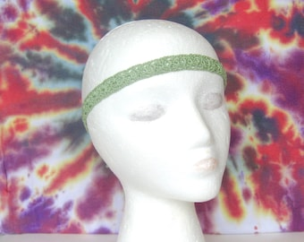 Light Green Boho Crochet Headband Hippie Headband Boho Hair Accessory Festival Headband