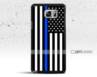 A Thin Blue Line Black & White Flag Case Cover for Samsung Galaxy Note 5/4/s8/s7/s6/s5/s4/Mini/Edge/Active/Plus