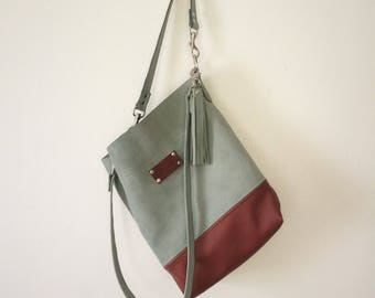 The Shopper Mini with Removable Straps Leather Bag Handbag Tote Satchel Purse Green Brown