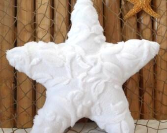 Small starfish pillow, minky pillows, nautical decor, beach pillows,nautical baby, shelf sitters, starfish ornies, coastal decor