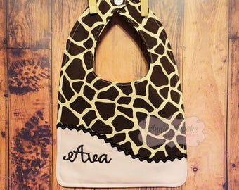 Personalized Bib, - Pink and Brown Giraffe Bib, - Monogrammed Baby Bib, - Reversible Embroidered Baby Bib, - Baby Shower Gift