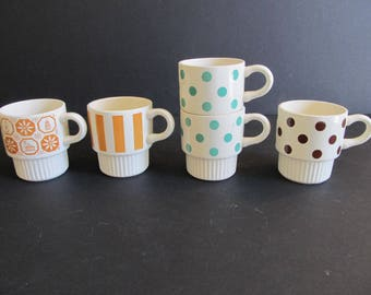 Coffee Cups, Vintage Coffee Cups, USA, Pottery Coffee Cups, Pottery, Coffee Mugs, Mugs, Cups, Polka Dot Mugs, Mid Century, Camping, Glamping