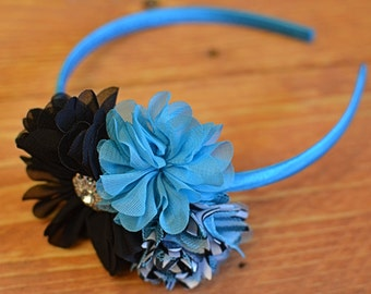 Blue Turquoise Black Zebra Flower Headband with Metal Rhinestone Center