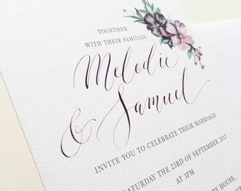 Secret Garden personalised wedding invitation - softly textured summer flowers for a pretty and charming wedding invitation