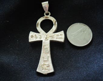 Egyptian Ankh 5.5g Textured Sterling Silver Pendant