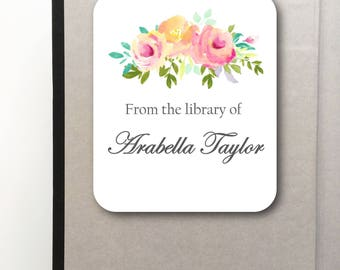 Personalized Bookplate Sticker-Watercolor Flowers-Teacher's Gift