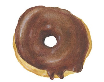 Watercolor Colored Pencil Painting Donut Chocolate Icing Pastry Archival Print 5x7 8x10 11x14