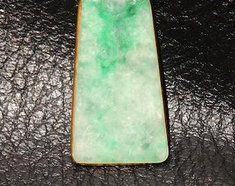 Vintage Jade Pendant, Moss in Snow Jadeite