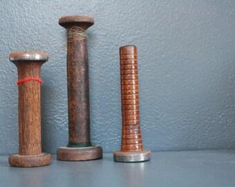 Vintage Wooden Spools. Set of Antique Wood Spools. Textile Mill Bobbins. Vintage Spool Set. Wood Bobbins. Industrial Textile Spools.