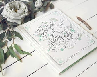 """Floral Guest Book - Personalized Modern Garden Wedding Guestbook - Custom Colors Guestbook - 8"""" x 10"""""""