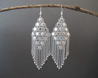 Silver filigree earrings,Silver Earrings , Israeli jewelry,Yemenite jewelry,Ethnic earrings,Statement earrings