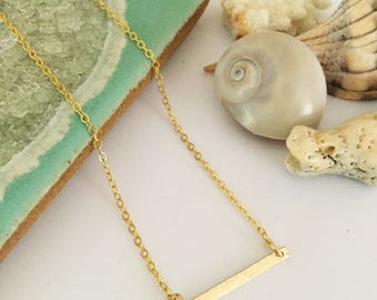 New! Petite Hammered Gold Filled Bar Necklace
