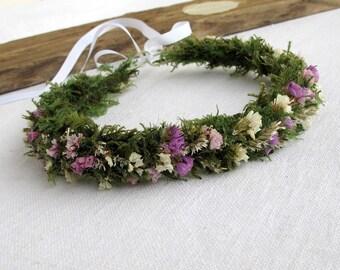 Dried flowers&moss crown - Moss headband - circlet - Wedding - Woodland Fairy - Autumn - Statice flowers