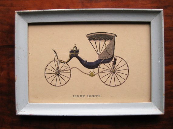 "Vintage carriage print. ""Light Brett."" Elizabethan coach. Powder blue wood frame. Vehicles. Transportation. 1800s"