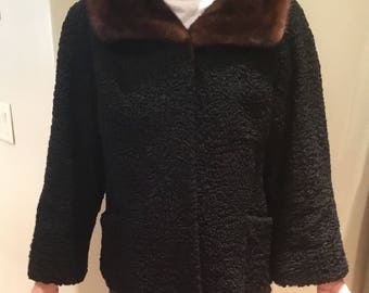 Vintage Designer Persian Lamb with Mink Collar Schiaparelli Paris Coat