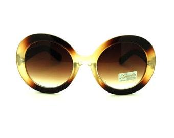 Large Round 70s Mod Sunglasses - Amber Two Tone Bohemian, Mod, Boho Chic, Avant Garde, Hipster Sunnies