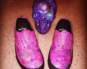 Galaxy Shoes - hand painted by me on brand new canvas sneakers - waterproof w/sealant